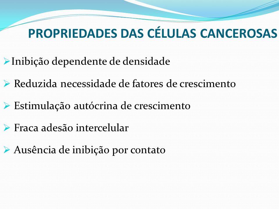 PROPRIEDADES DAS CÉLULAS CANCEROSAS Inibição dependente de densidade Reduzida necessidade de fatores de crescimento Estimulação autócrina de crescimen