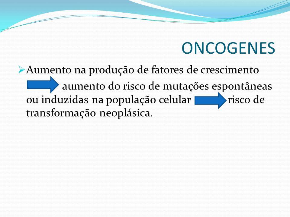 ONCOGENES Aumento na produção de fatores de crescimento aumento do risco de mutações espontâneas ou induzidas na população celular risco de transforma
