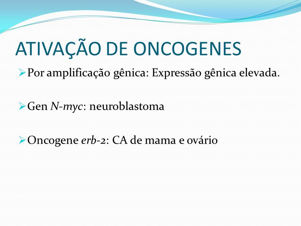 ATIVAÇÃO DE ONCOGENES Por amplificação gênica: Expressão gênica elevada. Gen N-myc: neuroblastoma Oncogene erb-2: CA de mama e ovário