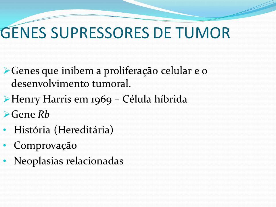 GENES SUPRESSORES DE TUMOR Genes que inibem a proliferação celular e o desenvolvimento tumoral. Henry Harris em 1969 – Célula híbrida Gene Rb História