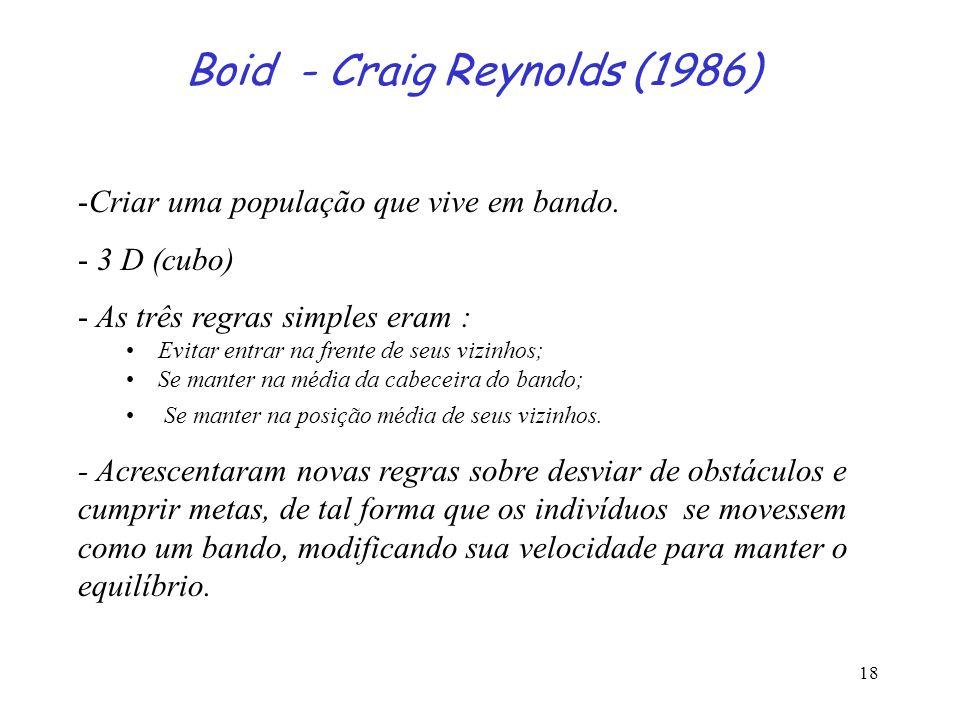 18 Boid - Craig Reynolds (1986) -Criar uma população que vive em bando. - 3 D (cubo) - As três regras simples eram : Evitar entrar na frente de seus v