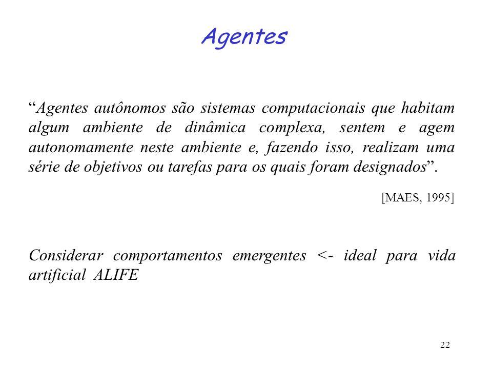 22 Agentes Agentes autônomos são sistemas computacionais que habitam algum ambiente de dinâmica complexa, sentem e agem autonomamente neste ambiente e, fazendo isso, realizam uma série de objetivos ou tarefas para os quais foram designados.