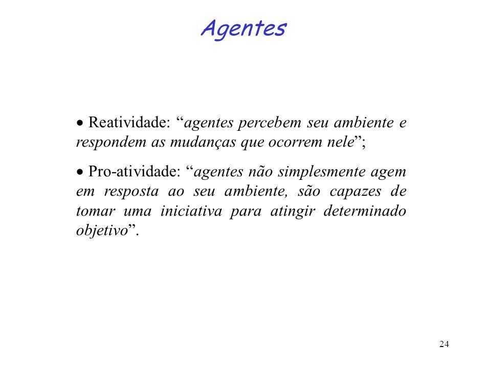 24 Agentes Reatividade: agentes percebem seu ambiente e respondem as mudanças que ocorrem nele; Pro-atividade: agentes não simplesmente agem em respos