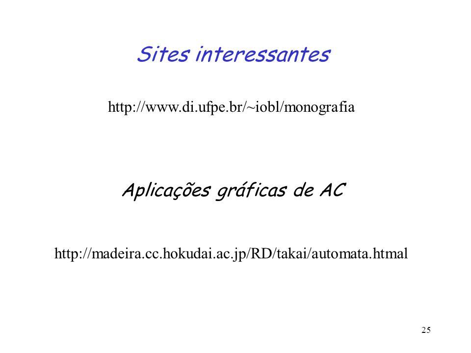 25 Sites interessantes http://www.di.ufpe.br/~iobl/monografia Aplicações gráficas de AC http://madeira.cc.hokudai.ac.jp/RD/takai/automata.htmal