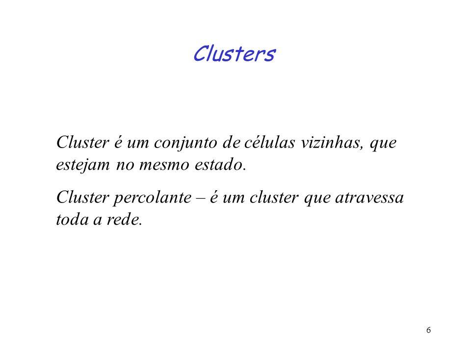 6 Clusters Cluster é um conjunto de células vizinhas, que estejam no mesmo estado. Cluster percolante – é um cluster que atravessa toda a rede.