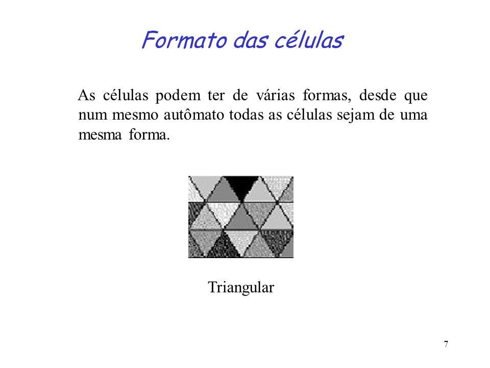 7 Formato das células As células podem ter de várias formas, desde que num mesmo autômato todas as células sejam de uma mesma forma. Triangular