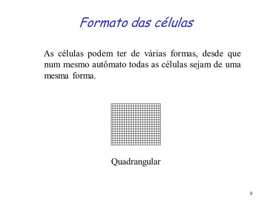 9 Formato das células As células podem ter de várias formas, desde que num mesmo autômato todas as células sejam de uma mesma forma. Quadrangular