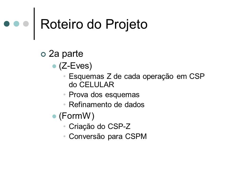 2a parte (Z-Eves) Esquemas Z de cada operação em CSP do CELULAR Prova dos esquemas Refinamento de dados (FormW) Criação do CSP-Z Conversão para CSPM