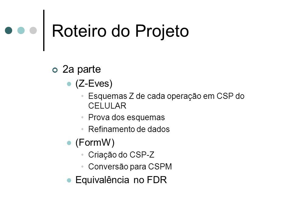 2a parte (Z-Eves) Esquemas Z de cada operação em CSP do CELULAR Prova dos esquemas Refinamento de dados (FormW) Criação do CSP-Z Conversão para CSPM E