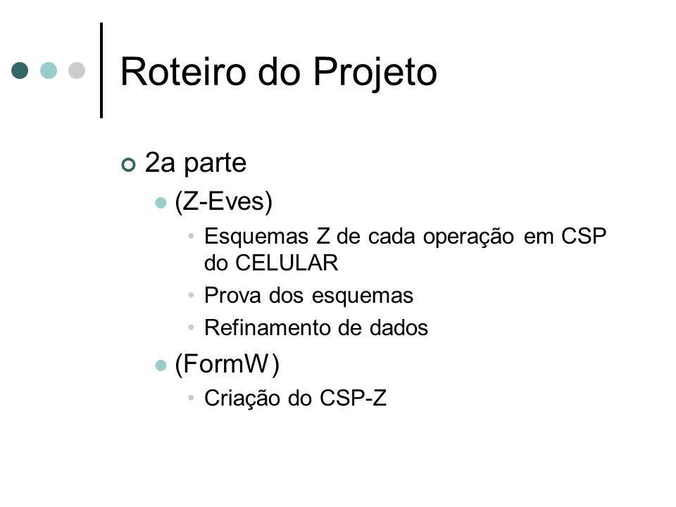 2a parte (Z-Eves) Esquemas Z de cada operação em CSP do CELULAR Prova dos esquemas Refinamento de dados (FormW) Criação do CSP-Z