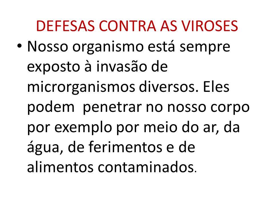DEFESAS CONTRA AS VIROSES Nosso organismo está sempre exposto à invasão de microrganismos diversos. Eles podem penetrar no nosso corpo por exemplo por
