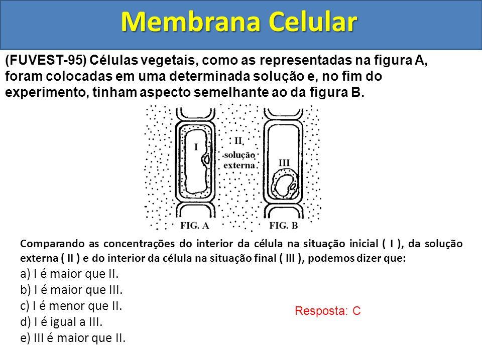 Membrana Celular Resposta: C (FUVEST-95) Células vegetais, como as representadas na figura A, foram colocadas em uma determinada solução e, no fim do