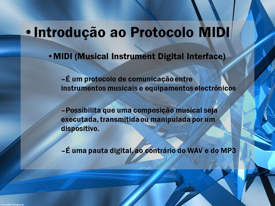 Introdução ao Protocolo MIDI MIDI (Musical Instrument Digital Interface) –É um protocolo de comunicação entre instrumentos musicais e equipamentos ele