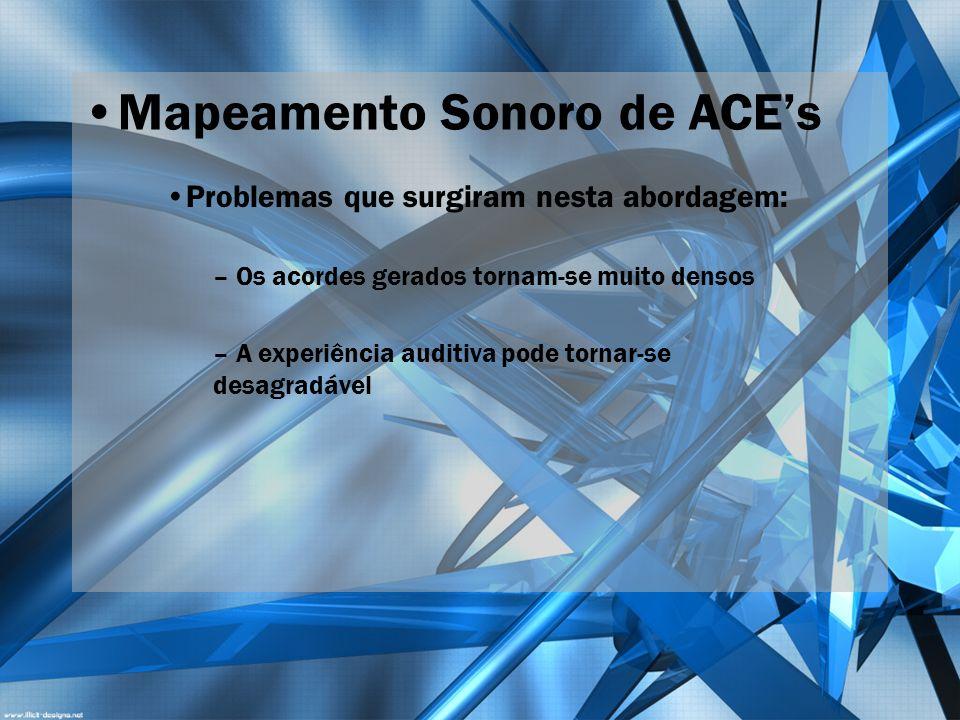 Mapeamento Sonoro de ACEs Problemas que surgiram nesta abordagem: – Os acordes gerados tornam-se muito densos – A experiência auditiva pode tornar-se