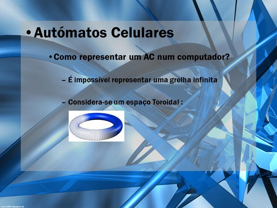 Autómatos Celulares Como representar um AC num computador? – É impossível representar uma grelha infinita – Considera-se um espaço Toroidal :