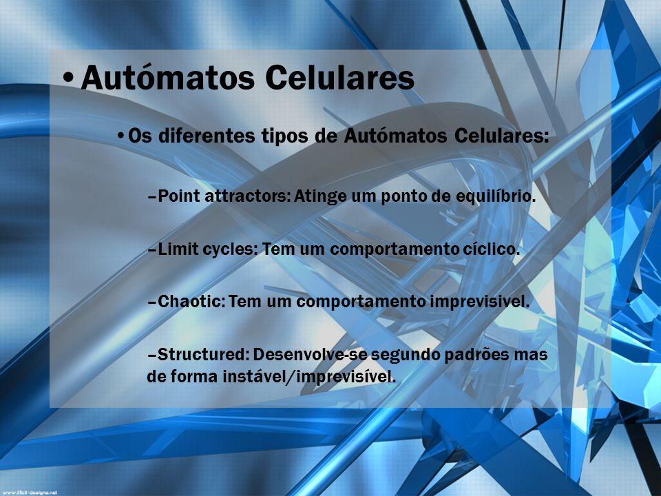 Autómatos Celulares Os diferentes tipos de Autómatos Celulares: –Point attractors: Atinge um ponto de equilíbrio. –Limit cycles: Tem um comportamento
