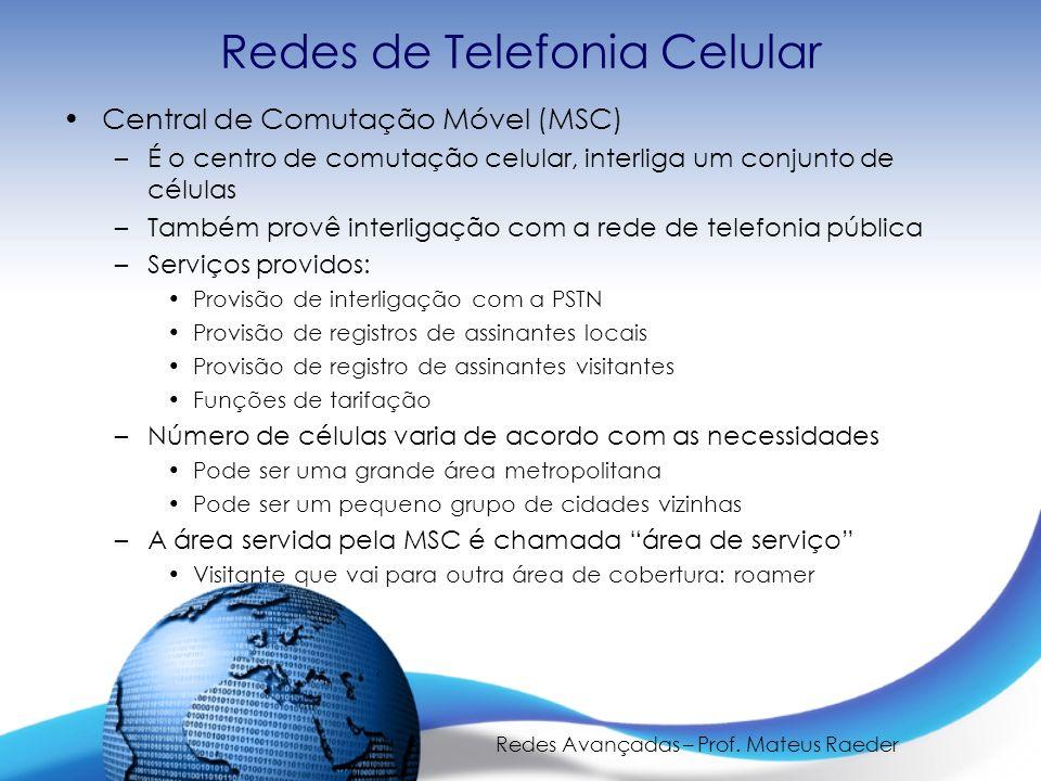 Redes Avançadas – Prof. Mateus Raeder Redes de Telefonia Celular Central de Comutação Móvel (MSC) –É o centro de comutação celular, interliga um conju