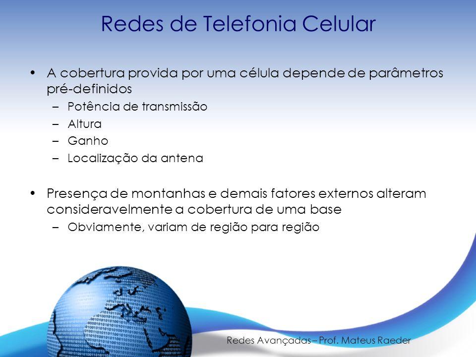 Redes Avançadas – Prof. Mateus Raeder Redes de Telefonia Celular A cobertura provida por uma célula depende de parâmetros pré-definidos –Potência de t