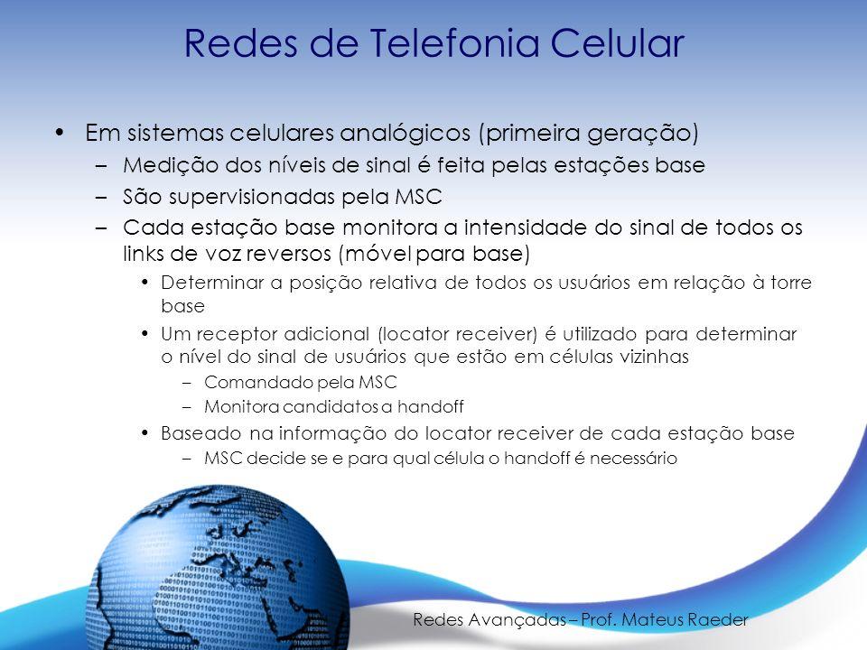 Redes Avançadas – Prof. Mateus Raeder Redes de Telefonia Celular Em sistemas celulares analógicos (primeira geração) –Medição dos níveis de sinal é fe