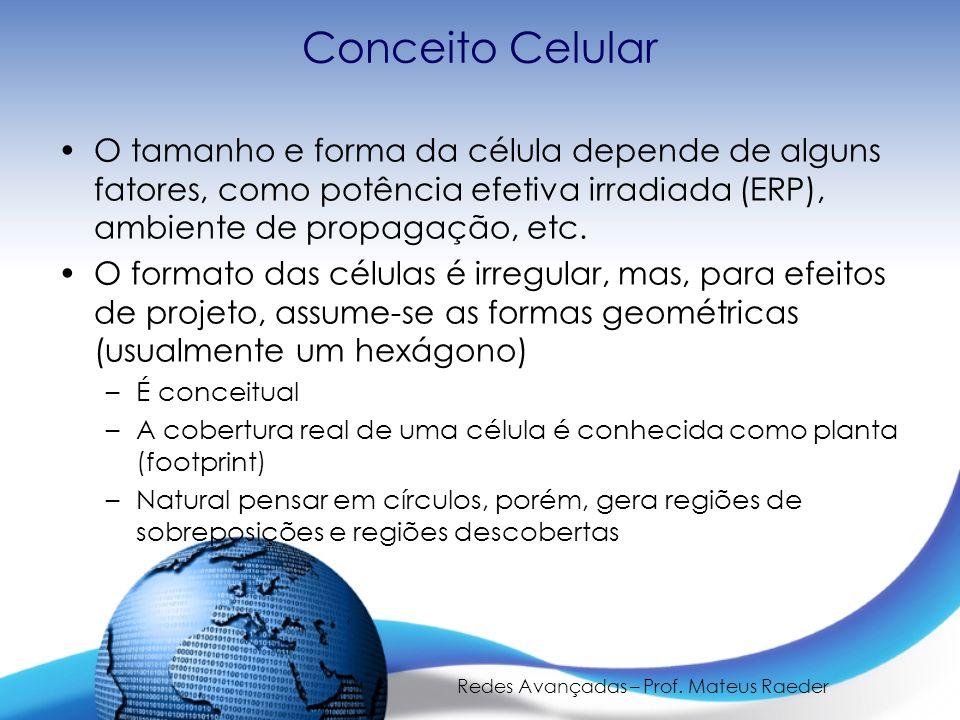Redes Avançadas – Prof. Mateus Raeder Conceito Celular O tamanho e forma da célula depende de alguns fatores, como potência efetiva irradiada (ERP), a