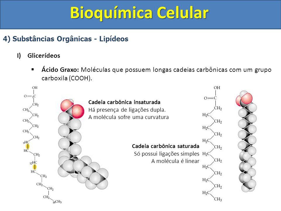 Bioquímica Celular 4) Substâncias Orgânicas - Lipídeos I)Glicerídeos Ligação Glicerol + Ácido Graxo Glicerol 3 Moléculas de Ácido Graxo Desidratação 3 moléculas de água liberadas Formação Triglicerídeo Ligação Éster