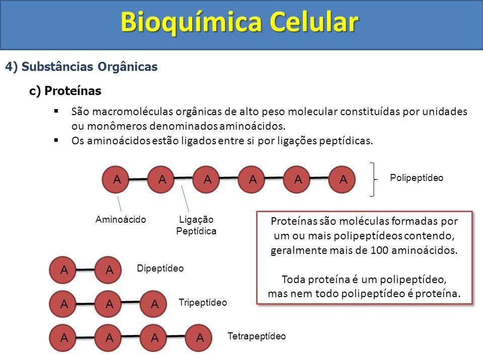 Bioquímica Celular 4) Substâncias Orgânicas - Proteínas I) Aminoácidos São as partes formadoras das proteínas Exemplos Grupo Amino Grupo Ácido Carboxílico R = Radical Varia nos diferentes aminoácidos e os caracteriza.