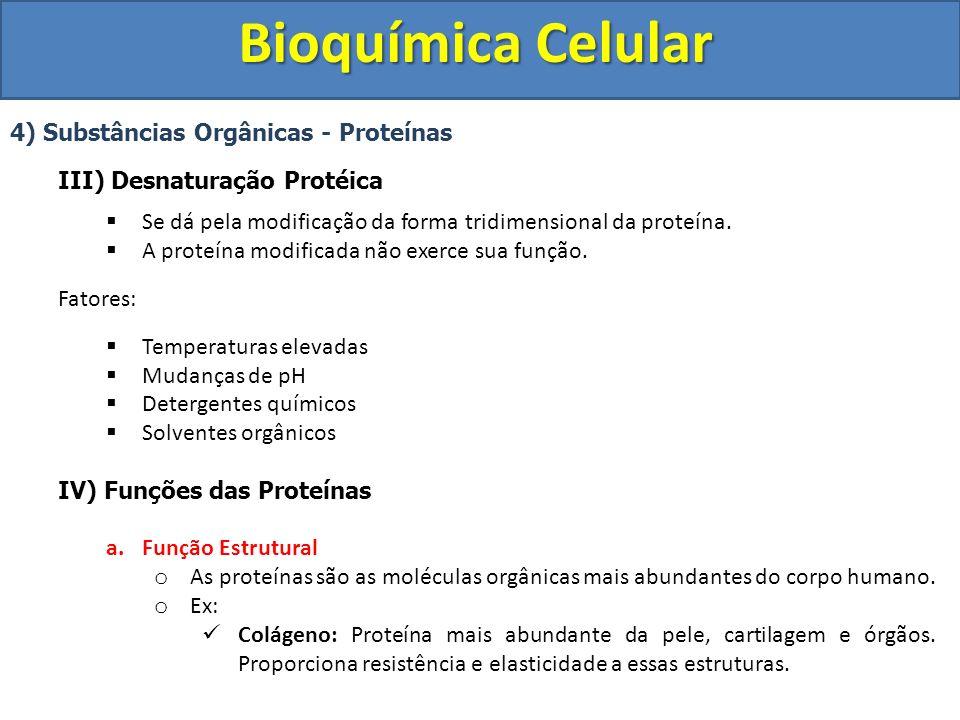 Bioquímica Celular 4) Substâncias Orgânicas - Proteínas IV) Funções das Proteínas Elastina: Proteína elástica presente em órgãos como pulmões, parede de vasos sanguíneos e ligamentos.