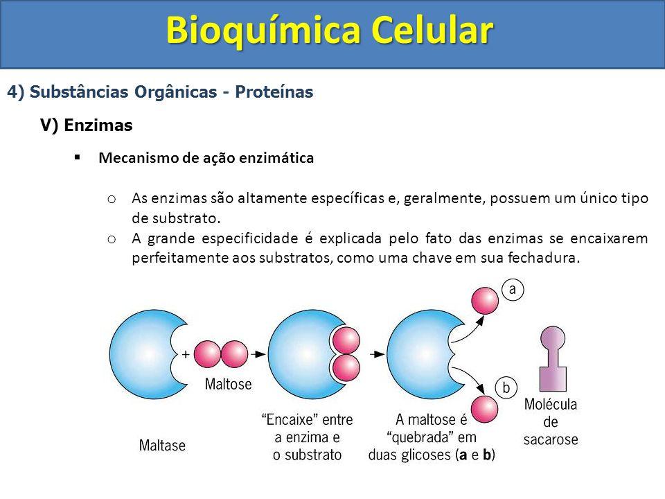 Bioquímica Celular 4) Substâncias Orgânicas - Proteínas V) Enzimas Mecanismo de ação enzimática o As enzimas são altamente específicas e, geralmente,