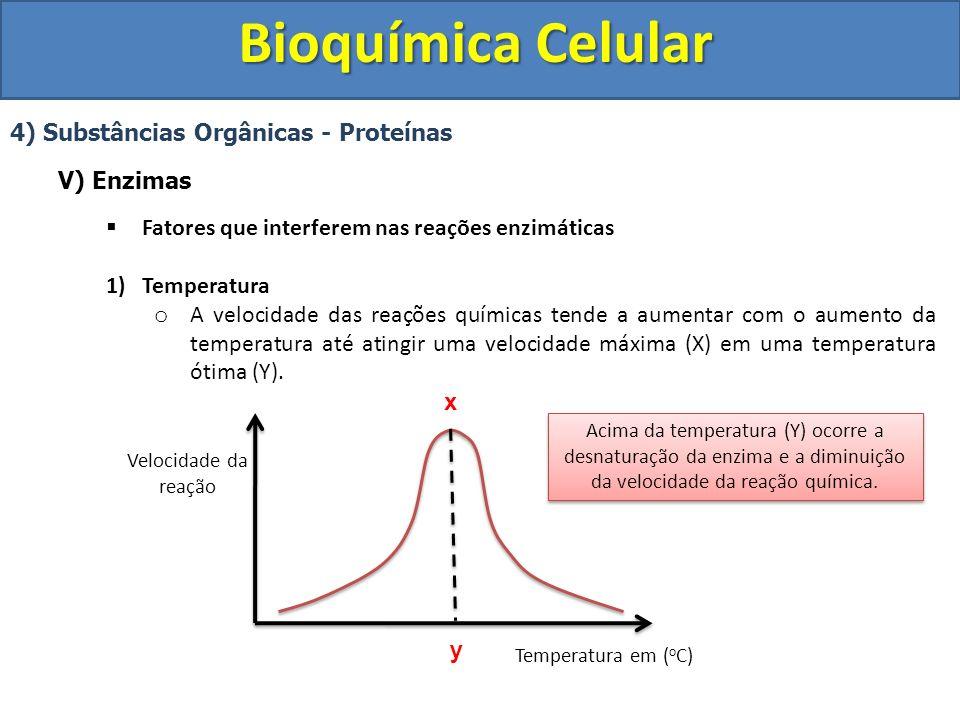 Bioquímica Celular 4) Substâncias Orgânicas - Proteínas V) Enzimas Fatores que interferem nas reações enzimáticas 2) pH (Potencial Hidrogeniônico) o As enzimas exigem um pH ótimo (Y) no qual a velocidade da reação seja máxima (X).