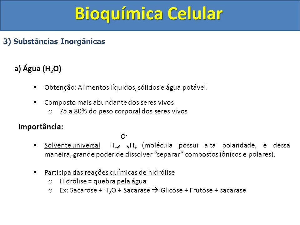Bioquímica Celular 3) Substâncias Inorgânicas a) Água (H 2 O) Obtenção: Alimentos líquidos, sólidos e água potável. Composto mais abundante dos seres