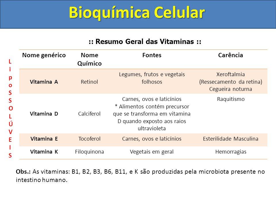 Bioquímica Celular :: Resumo Geral das Vitaminas :: Nome genéricoNome Químico FontesCarência Vitamina ARetinol Legumes, frutos e vegetais folhosos Xer