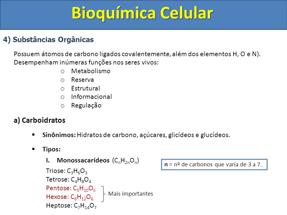 Bioquímica Celular 4) Substâncias Orgânicas Possuem átomos de carbono ligados covalentemente, além dos elementos H, O e N). Desempenham inúmeras funçõ