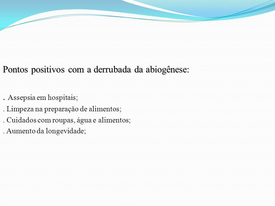 Pontos positivos com a derrubada da abiogênese:.. Assepsia em hospitais;. Limpeza na preparação de alimentos;. Cuidados com roupas, água e alimentos;.