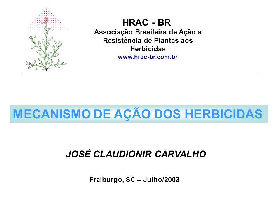Associação Brasileira de Ação a Resistência de Plantas aos Herbicidas www.hrac-br.com.br HRAC - BR MECANISMO DE AÇÃO DOS HERBICIDAS JOSÉ CLAUDIONIR CA