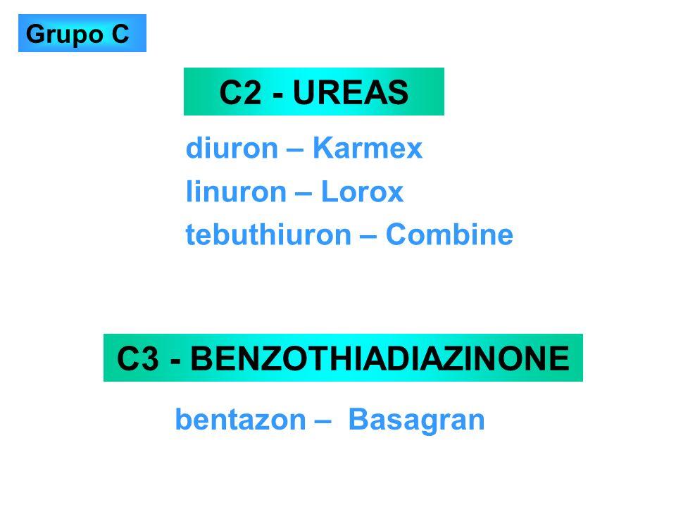 diuron – Karmex linuron – Lorox tebuthiuron – Combine C2 - UREAS C3 - BENZOTHIADIAZINONE bentazon – Basagran Grupo C