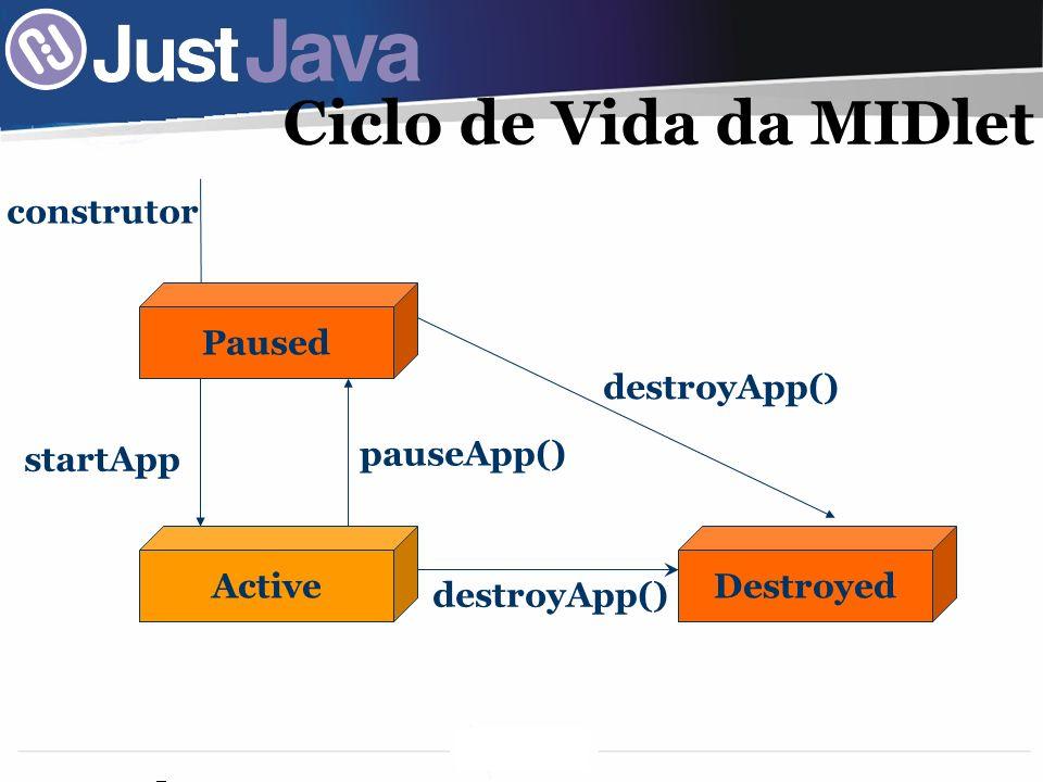 34 Ciclo de Vida da MIDlet Paused ActiveDestroyed construtor pauseApp() destroyApp() startApp