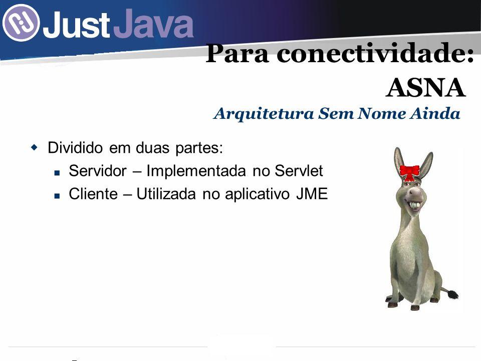 54 Para conectividade: Dividido em duas partes: Servidor – Implementada no Servlet Cliente – Utilizada no aplicativo JME Arquitetura Sem Nome Ainda ASNA