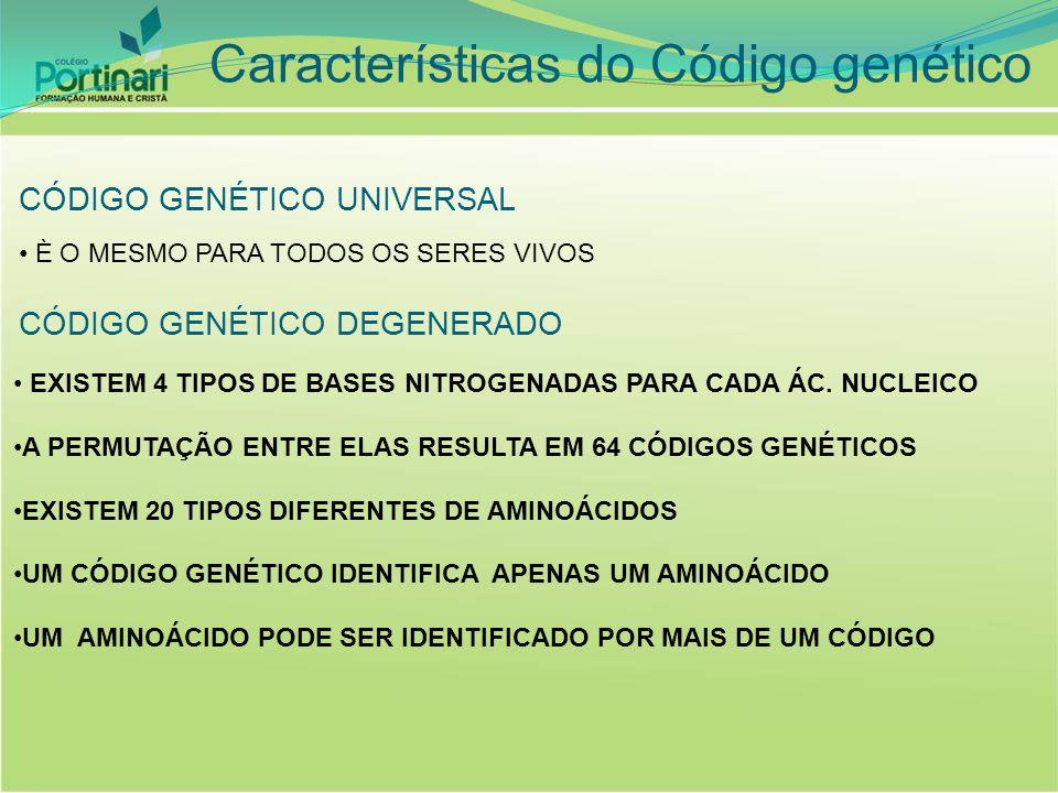 CÓDIGO GENÉTICO UNIVERSAL È O MESMO PARA TODOS OS SERES VIVOS CÓDIGO GENÉTICO DEGENERADO EXISTEM 4 TIPOS DE BASES NITROGENADAS PARA CADA ÁC. NUCLEICO