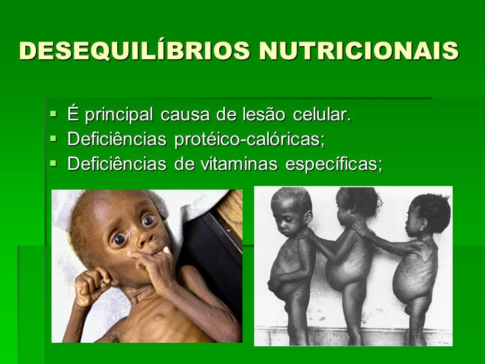 DESEQUILÍBRIOS NUTRICIONAIS É principal causa de lesão celular.