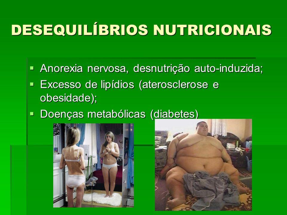 DESEQUILÍBRIOS NUTRICIONAIS Anorexia nervosa, desnutrição auto-induzida; Anorexia nervosa, desnutrição auto-induzida; Excesso de lipídios (aterosclerose e obesidade); Excesso de lipídios (aterosclerose e obesidade); Doenças metabólicas (diabetes) Doenças metabólicas (diabetes)