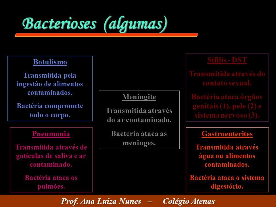 Bacterioses (algumas) Botulismo Transmitida pela ingestão de alimentos contaminados. Bactéria compromete todo o corpo. Meningite Transmitida através d