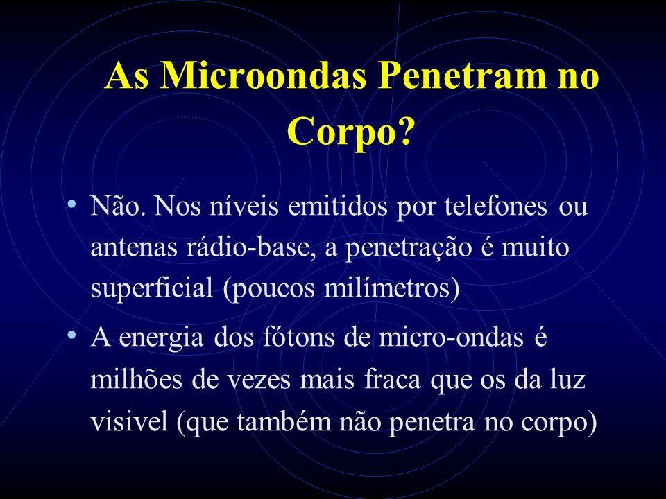 As Microondas Penetram no Corpo? Não. Nos níveis emitidos por telefones ou antenas rádio-base, a penetração é muito superficial (poucos milímetros) A