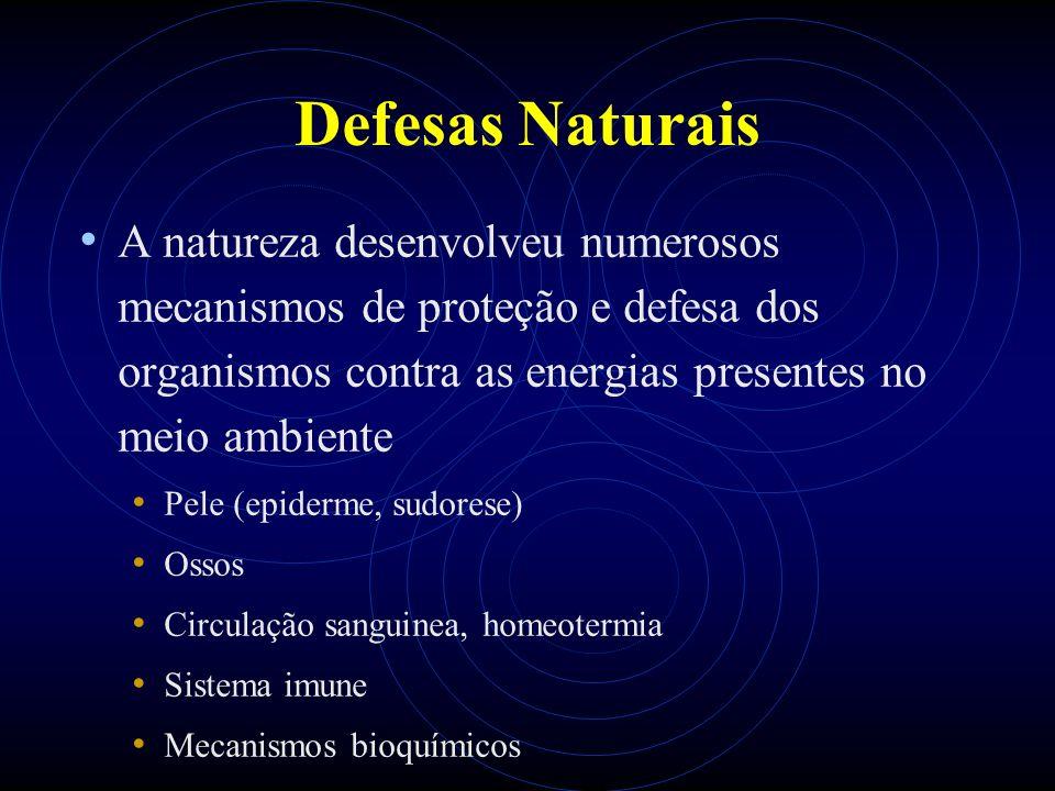 Defesas Naturais A natureza desenvolveu numerosos mecanismos de proteção e defesa dos organismos contra as energias presentes no meio ambiente Pele (epiderme, sudorese) Ossos Circulação sanguinea, homeotermia Sistema imune Mecanismos bioquímicos