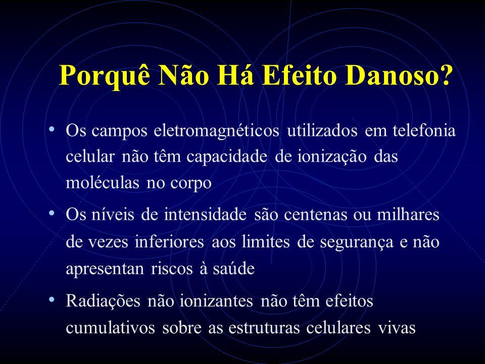 Porquê Não Há Efeito Danoso? Os campos eletromagnéticos utilizados em telefonia celular não têm capacidade de ionização das moléculas no corpo Os níve