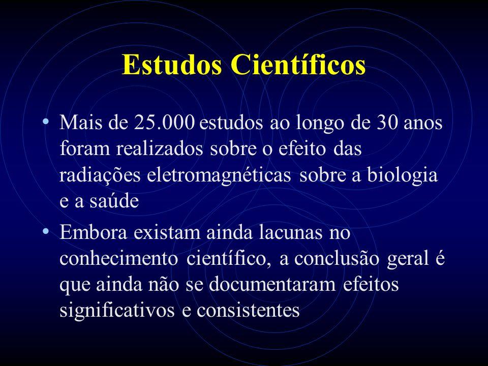 Estudos Científicos Mais de 25.000 estudos ao longo de 30 anos foram realizados sobre o efeito das radiações eletromagnéticas sobre a biologia e a saúde Embora existam ainda lacunas no conhecimento científico, a conclusão geral é que ainda não se documentaram efeitos significativos e consistentes
