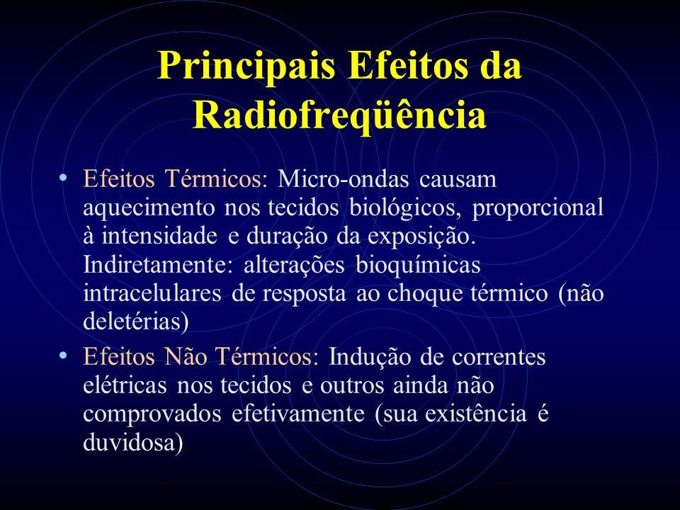 Principais Efeitos da Radiofreqüência Efeitos Térmicos: Micro-ondas causam aquecimento nos tecidos biológicos, proporcional à intensidade e duração da exposição.