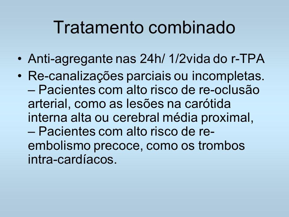 Tratamento combinado Anti-agregante nas 24h/ 1/2vida do r-TPA Re-canalizações parciais ou incompletas.