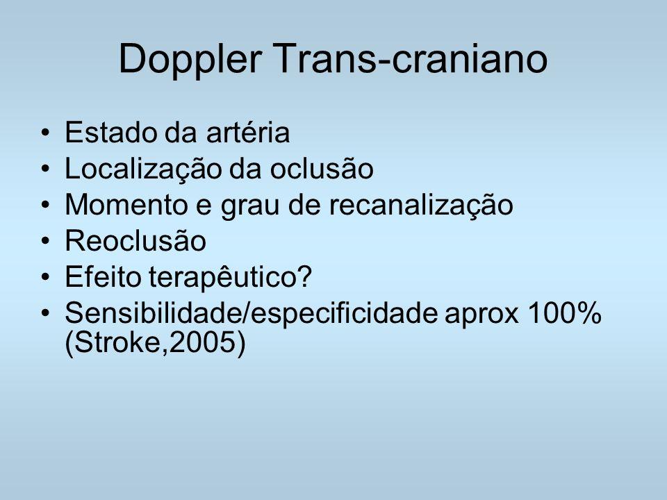 Doppler Trans-craniano Estado da artéria Localização da oclusão Momento e grau de recanalização Reoclusão Efeito terapêutico.