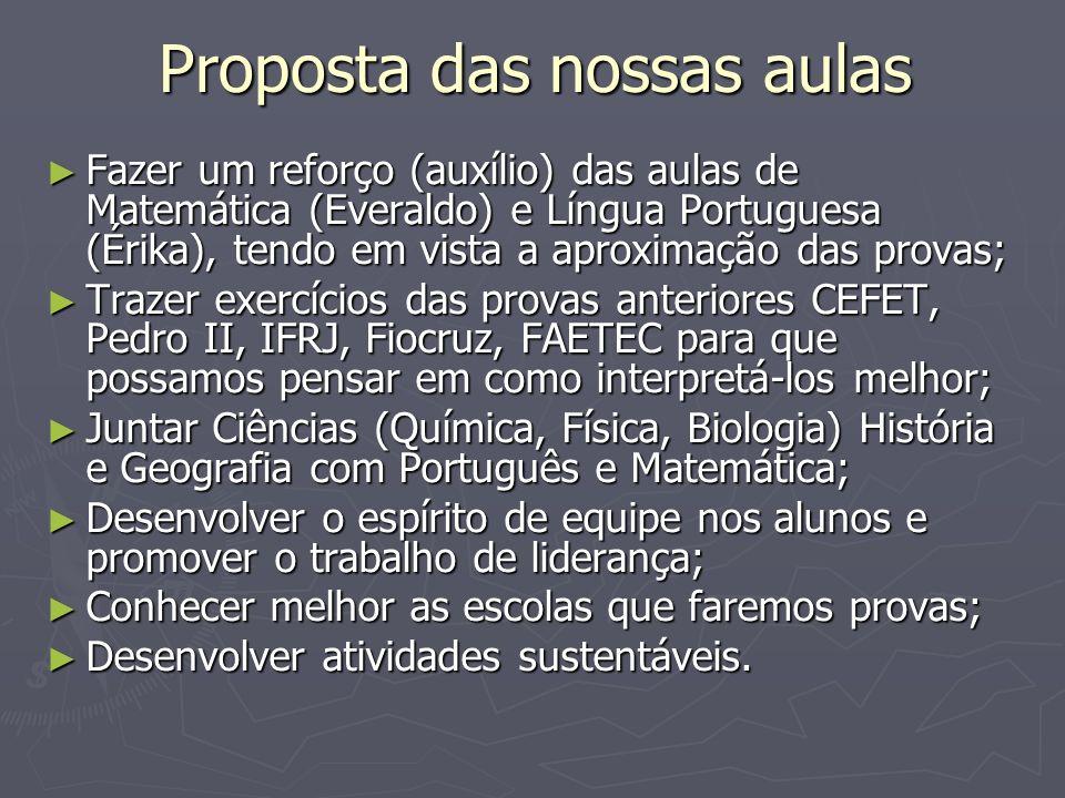 Proposta das nossas aulas Fazer um reforço (auxílio) das aulas de Matemática (Everaldo) e Língua Portuguesa (Érika), tendo em vista a aproximação das