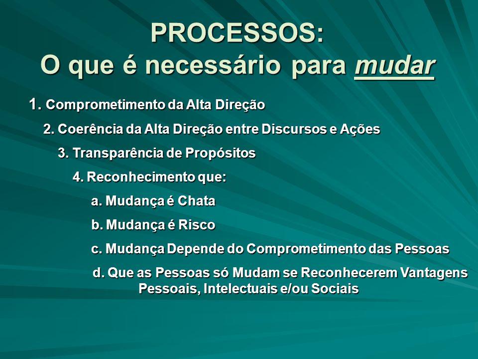 PROCESSOS: O que é necessário para mudar 1.Comprometimento da Alta Direção 2.